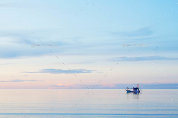 Fishing boats on the sea - Stock Photo - Images