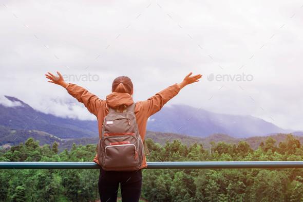 Girl tourists are enjoying - Stock Photo - Images