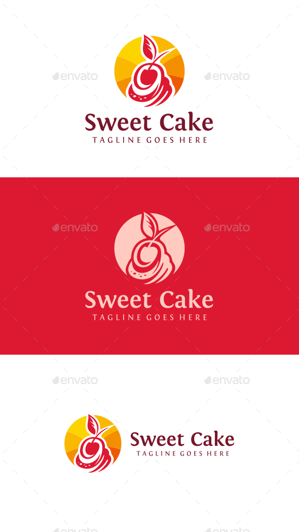 Cherry Cake - Food Logo Templates
