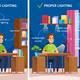 Workplace Illumination Cartoon Composition