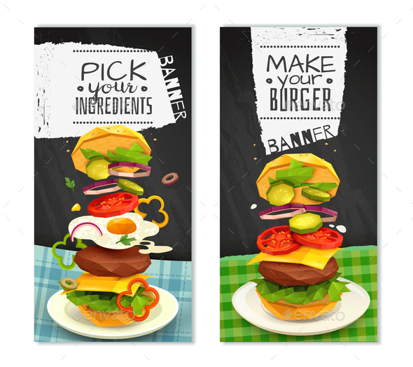 Hamburger Vertical Banners - Food Objects