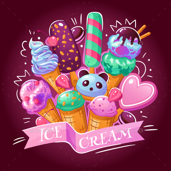 Ice Cream Background Poster - Backgrounds Decorative