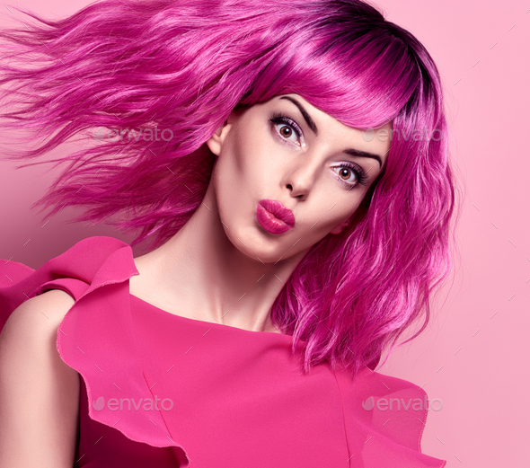 Glamour Beautiful Lady. Pink Fashionable Hairstyle - Stock Photo - Images