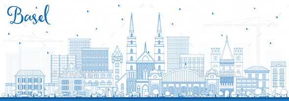 Outline Basel Switzerland City Skyline with Blue Buildings. - Buildings Objects