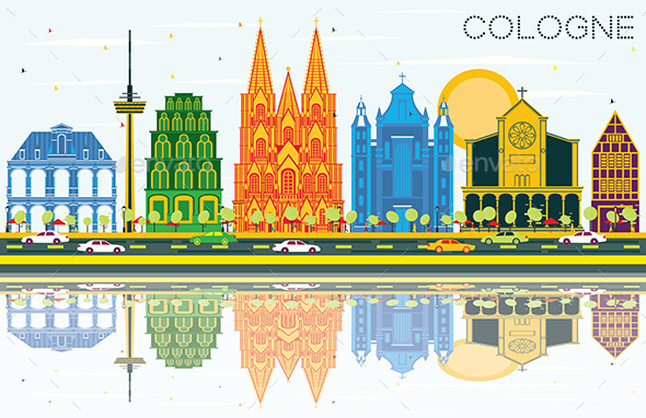 Cologne Germany City Skyline with Color Buildings, Blue Sky and Reflections. - Buildings Objects