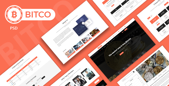 BITCO - Bitcoin and Cryptocurrency  Multi Page PSD Template - Marketing Corporate