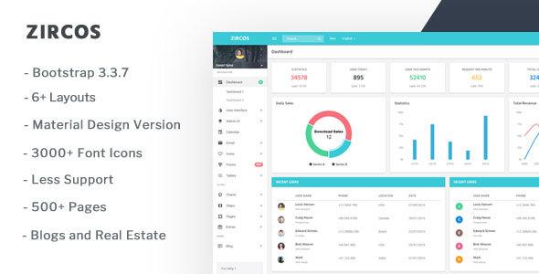 Zircos - Responsive Admin Dashboard + Material Design - Admin Templates Site Templates