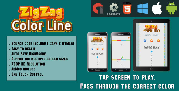 Color Line ZigZag - HTML5 Game - Mobile Version - (.CAPX & HTML) - CodeCanyon Item for Sale