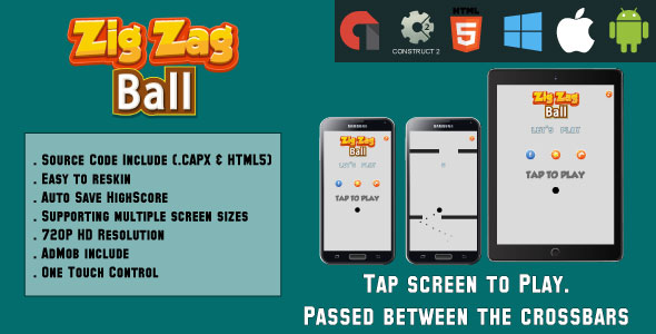 ZigZag Ball - HTML5 Game - Mobile Version - (.CAPX & HTML) - CodeCanyon Item for Sale