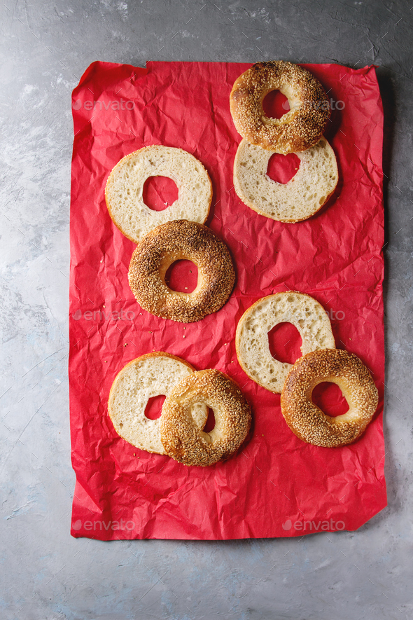 Sliced homemade bagels - Stock Photo - Images
