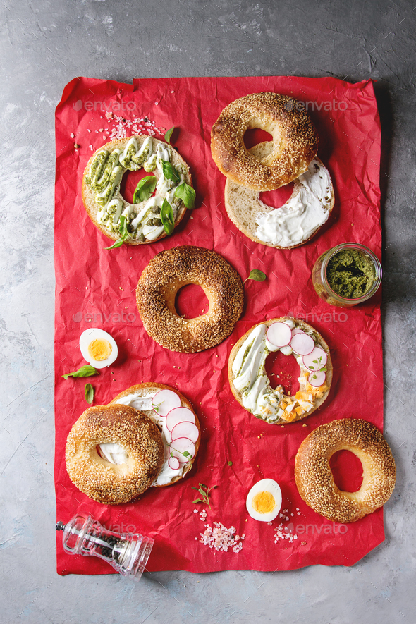 Bagels with cream cheese - Stock Photo - Images