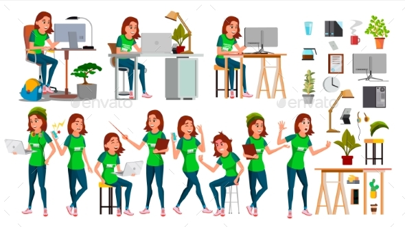 Young Business Woman Set Character Vector - People Characters