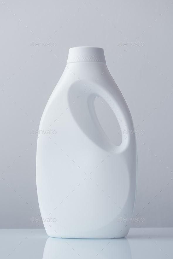 White plastic bottle container for liquid detergent - Stock Photo - Images