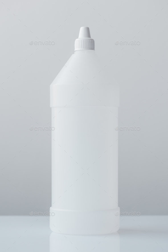 White plastic bottle container for medical ethyl alcohol - Stock Photo - Images
