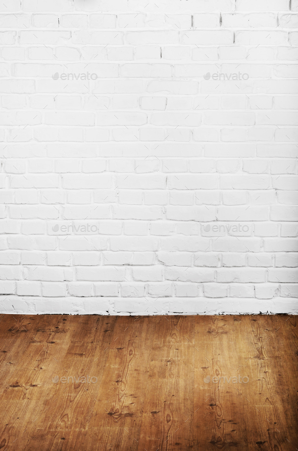 White Brick Wall Of Painted Genuine Clay Blocks And Wooden Floor Stock Photo By Dmytromykhailov