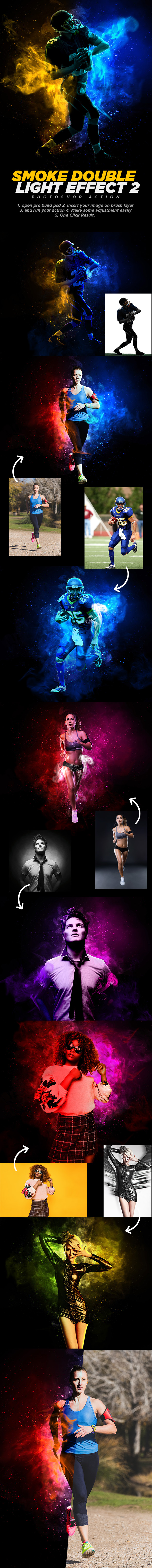 Smoke Double Light Effect Photoshop Action Vol.2 - Photo Effects Actions