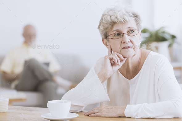 Irritated elder woman - Stock Photo - Images