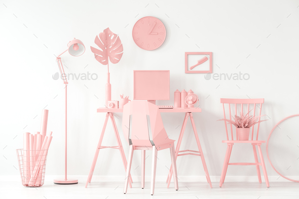 Modern pink home office - Stock Photo - Images