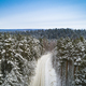 Aerial drone view of road in idyllic winter landscape. - PhotoDune Item for Sale