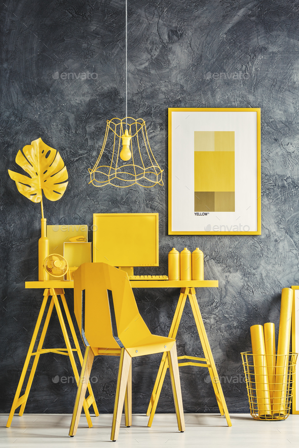 Yellow home office - Stock Photo - Images