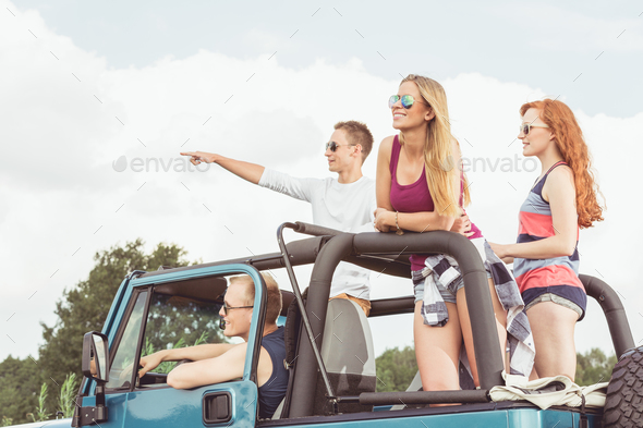 Friends on common expedition - Stock Photo - Images