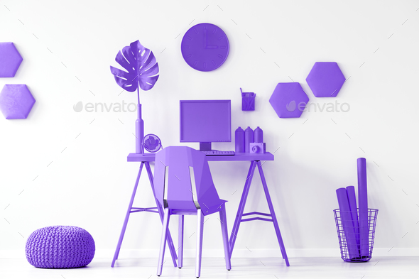 Purple workspace interior inspiration - Stock Photo - Images