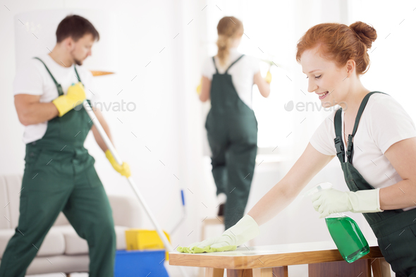 Cleaning service during work - Stock Photo - Images