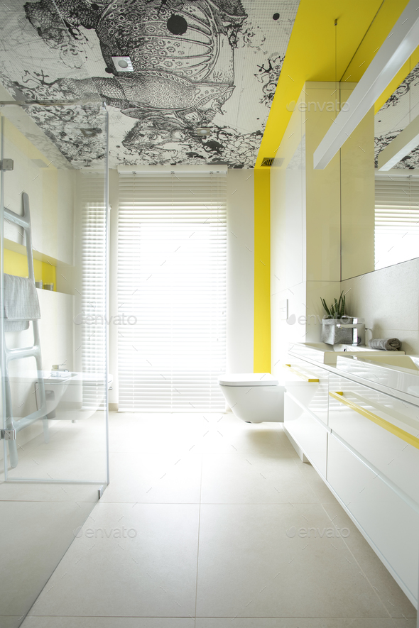 Spacious bathroom with creative design - Stock Photo - Images