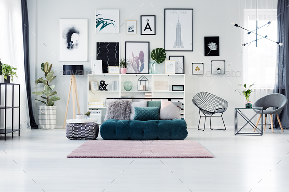 Scandi living room with posters - Stock Photo - Images