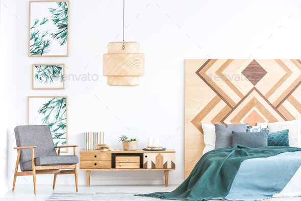 Armchair in rustic bedroom interior - Stock Photo - Images