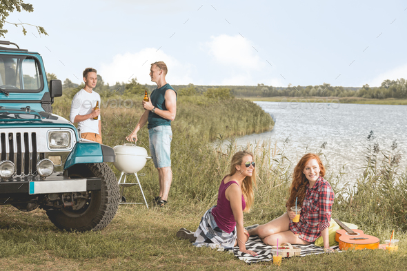 Picnic by the lake - Stock Photo - Images
