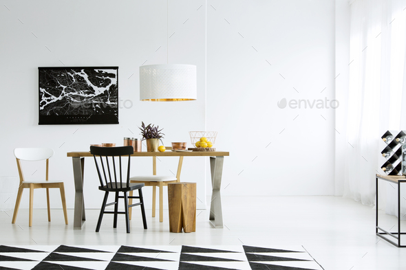 Empty wall in dining room - Stock Photo - Images