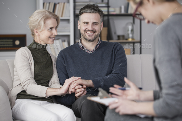 Therapist with smiling marriage - Stock Photo - Images