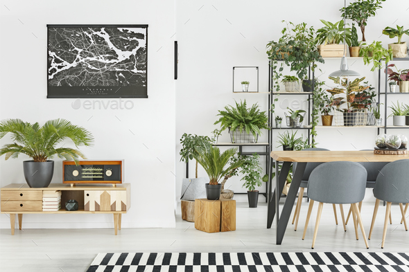 Black map in dining room - Stock Photo - Images
