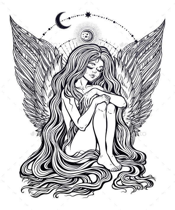 Girl Angel with Long Wavy Hair Falling Down - Miscellaneous Characters