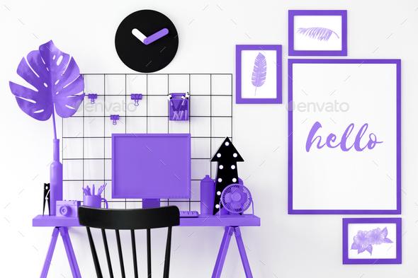 Purple room interior - Stock Photo - Images