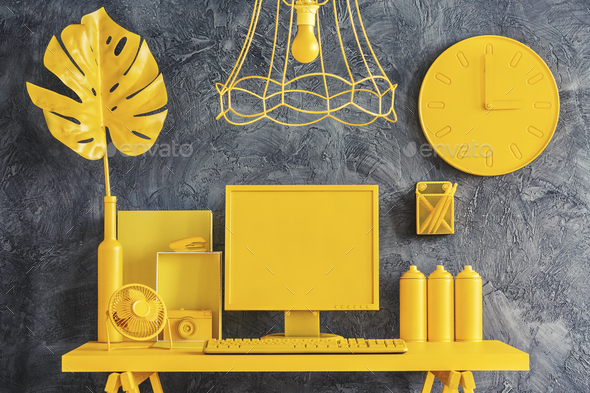 All yellow workspace concept - Stock Photo - Images