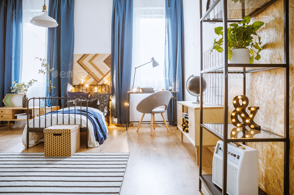Modern bedroom with plants - Stock Photo - Images