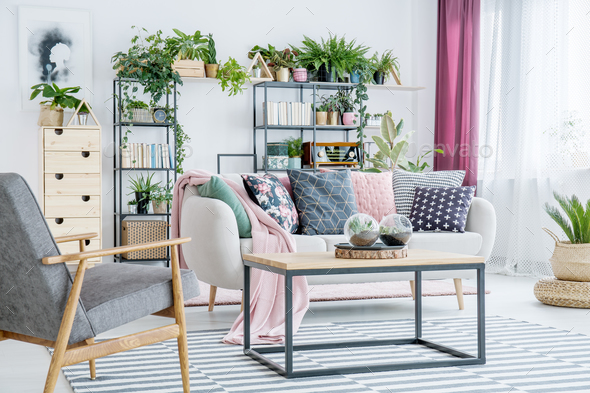 Floral living room interior - Stock Photo - Images
