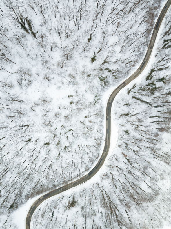 Winter Mountain Road From Above - Stock Photo - Images