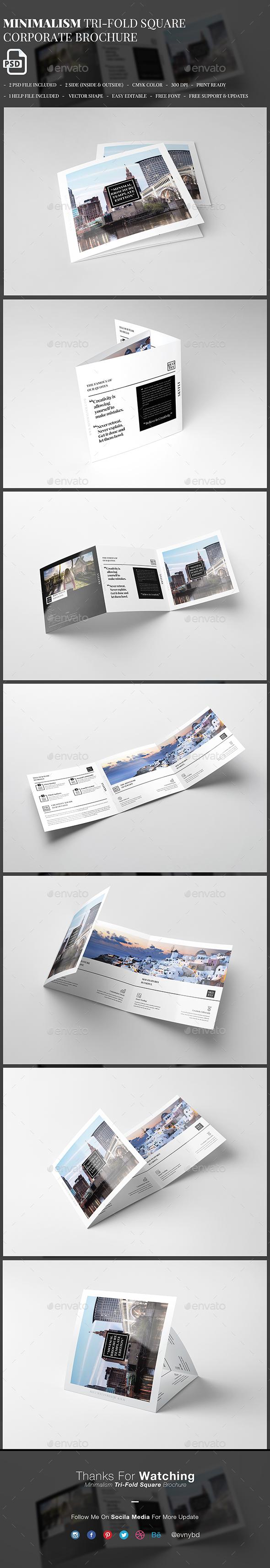 Minimalism Square Tri-Fold Brochure - Brochures Print Templates