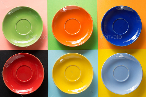 empty saucer at abstract colorful - Stock Photo - Images