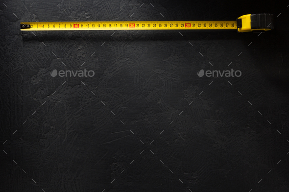 tape measure  on black - Stock Photo - Images