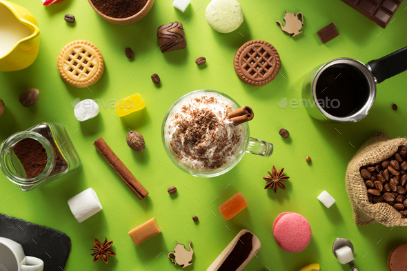 cup of ice cream coffee at green background - Stock Photo - Images