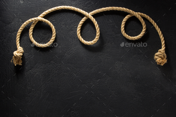 ship rope at black background - Stock Photo - Images