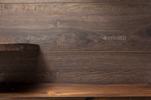 wooden shelf on brown - Stock Photo - Images