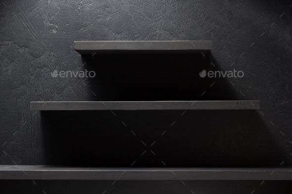 shelf and black wall wood - Stock Photo - Images
