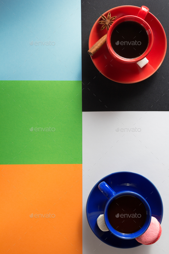 cup of coffee and cacao  at abstract colorful - Stock Photo - Images