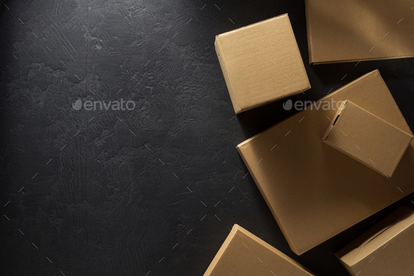 cardboard box  on  black - Stock Photo - Images