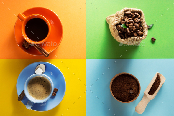 cup of coffee and cacao at colorful paper - Stock Photo - Images
